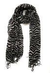 Black and White Stripes Scarf with Tassels Lightweight