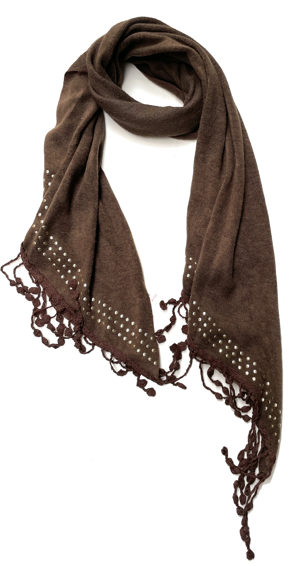 Long Brown Studded Tassel Scarf for Women