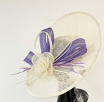 Cream Ivory and Lilac Lavender purple 41cm Large SInamay Hatinator Disc Saucer Brim Hat Fascinator on Headband