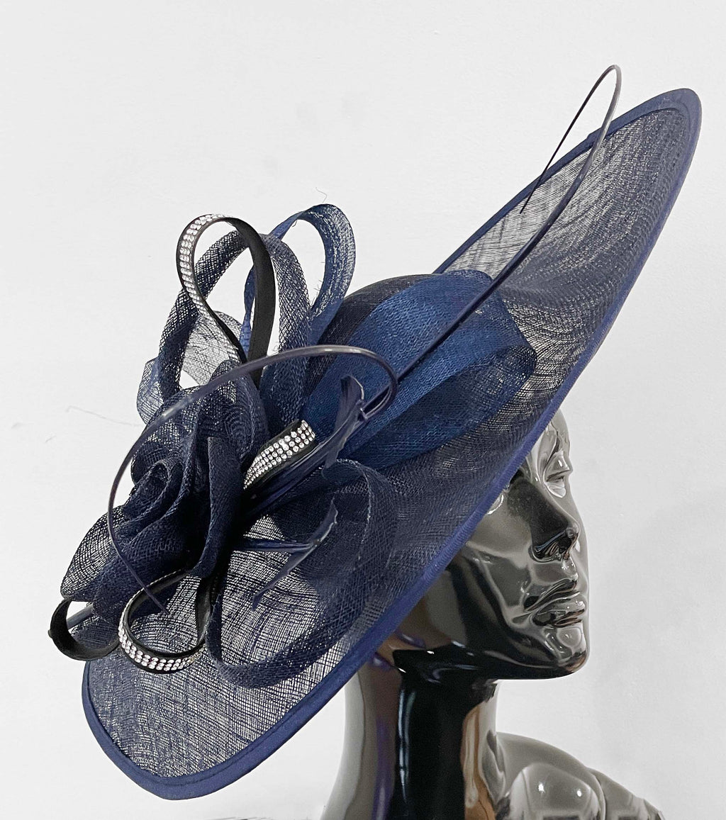 Navy and Black Diamante 41cm Large SInamay Hatinator Disc Saucer Brim Hat Fascinator on Headband