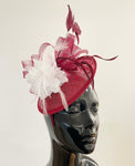 Burgundy and White flower fascinator sinamay hat