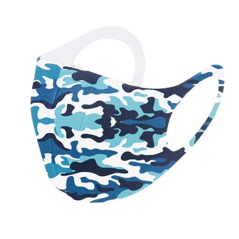 3 Pack Blue Black Grey Camo Army Reusable Fabric Face Masks Covering Washable Adult Size