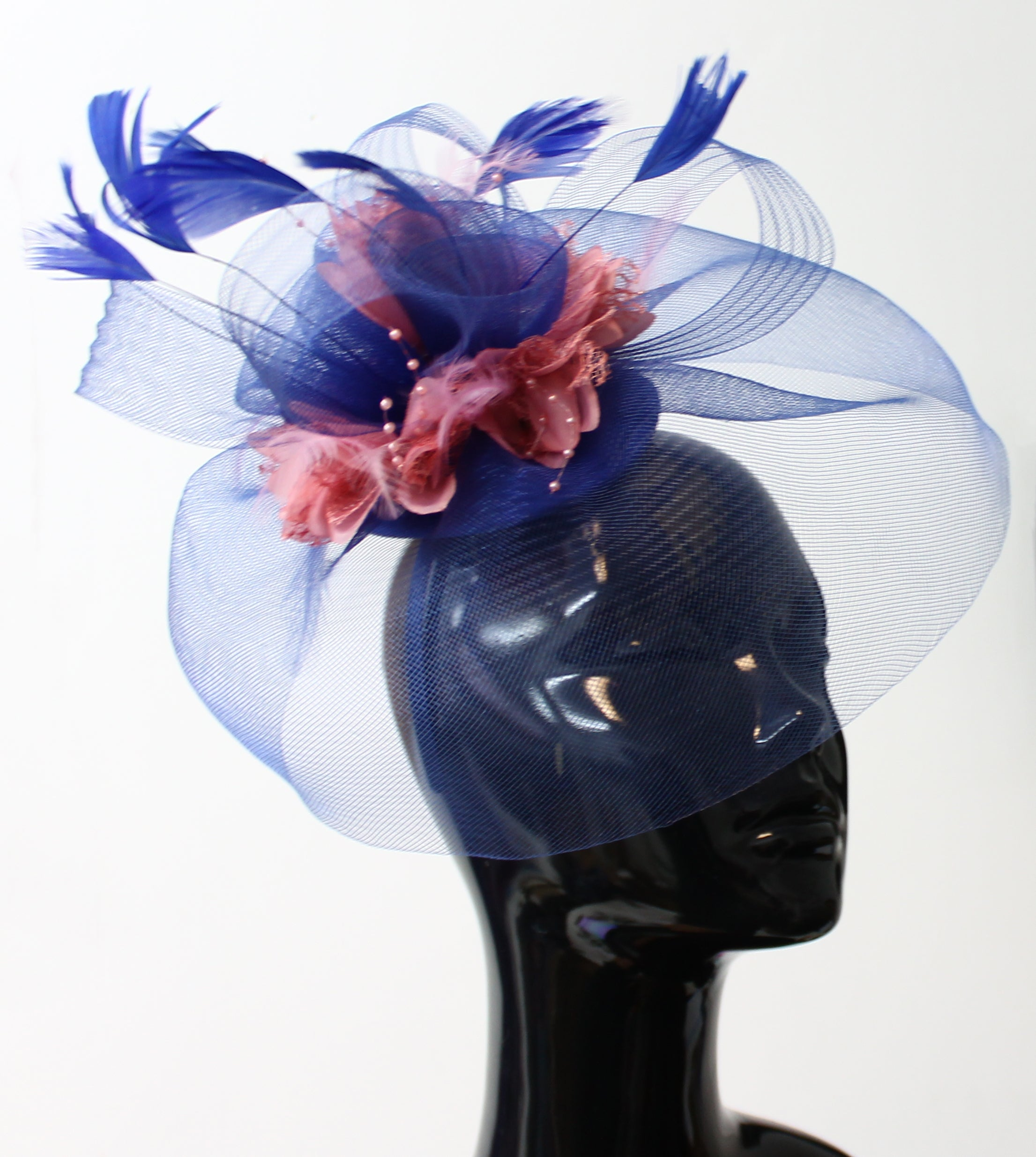 Popmix - Royal Blue and Dusty Pink Fascinator Hatinator Hat With Veil