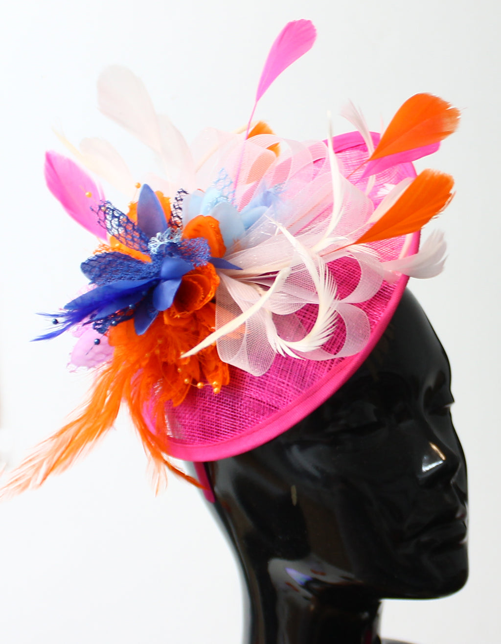 Bespoke Orange Fuchsia Blue and White Fascinator