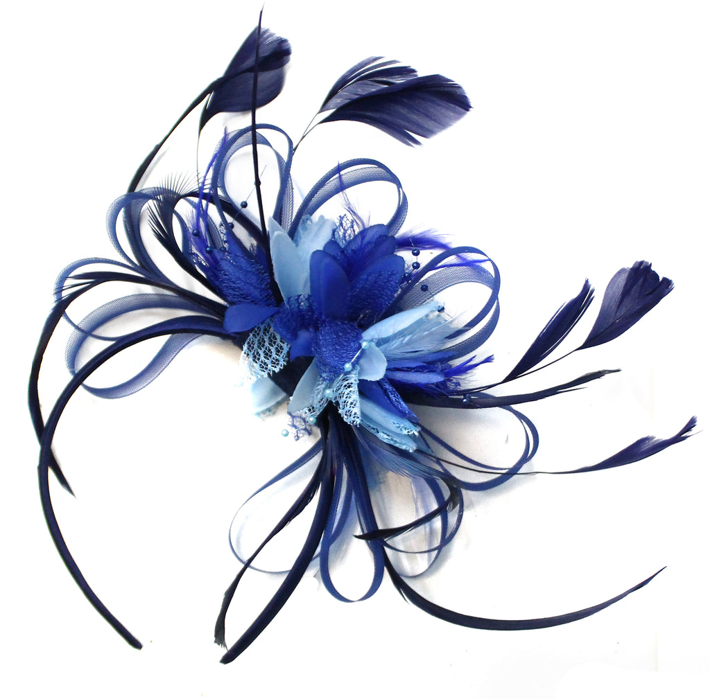 Hoopmix - Dark Navy and Light Blue Mixed Colour Fascinator on Headband