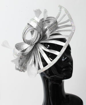 Sparkly Silver Crystal Diamante Fascinator Hat Pointed Saucer on Headband