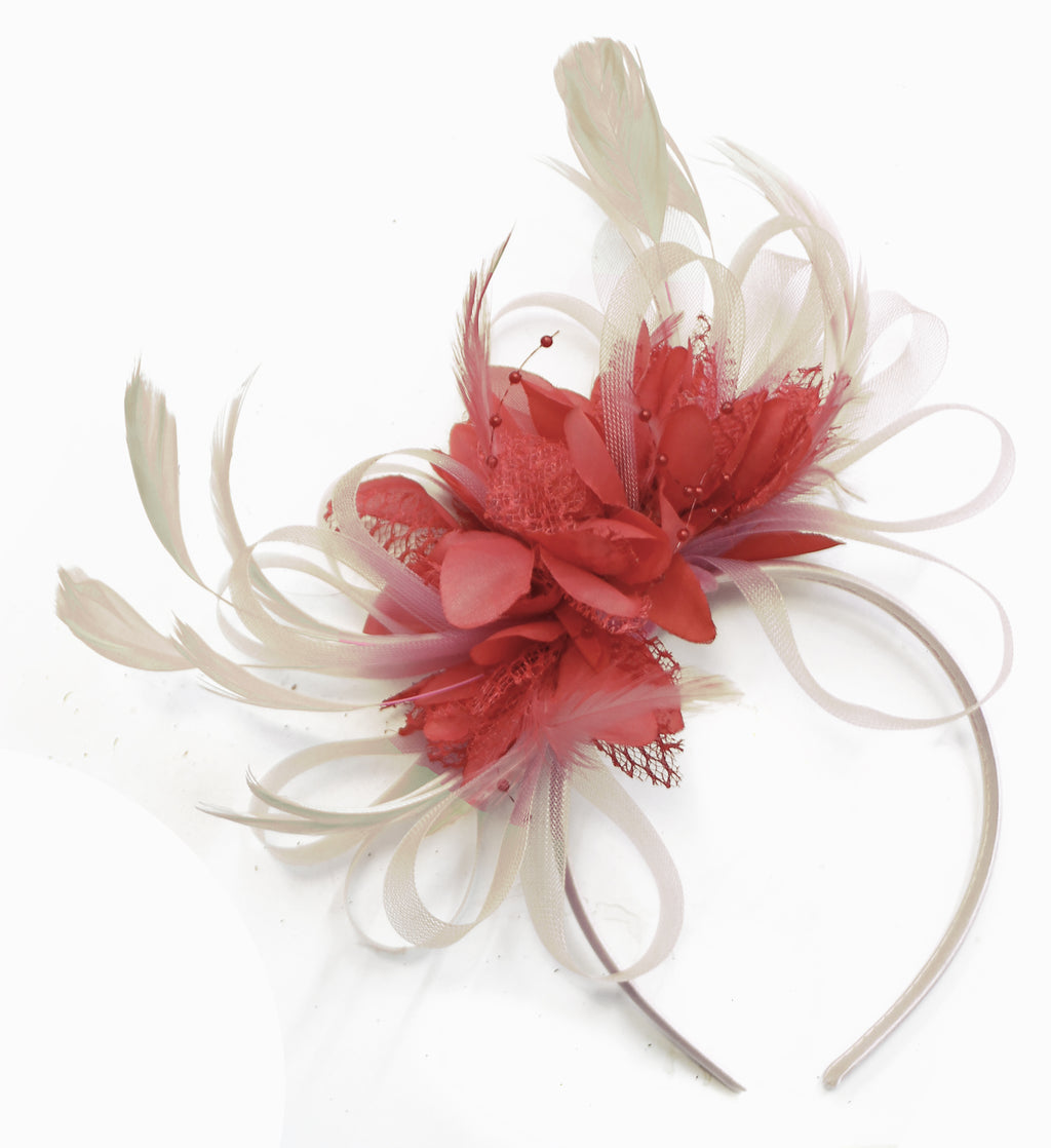 Caprilite Mixhoop Fascinator Cream and Coral on Headband