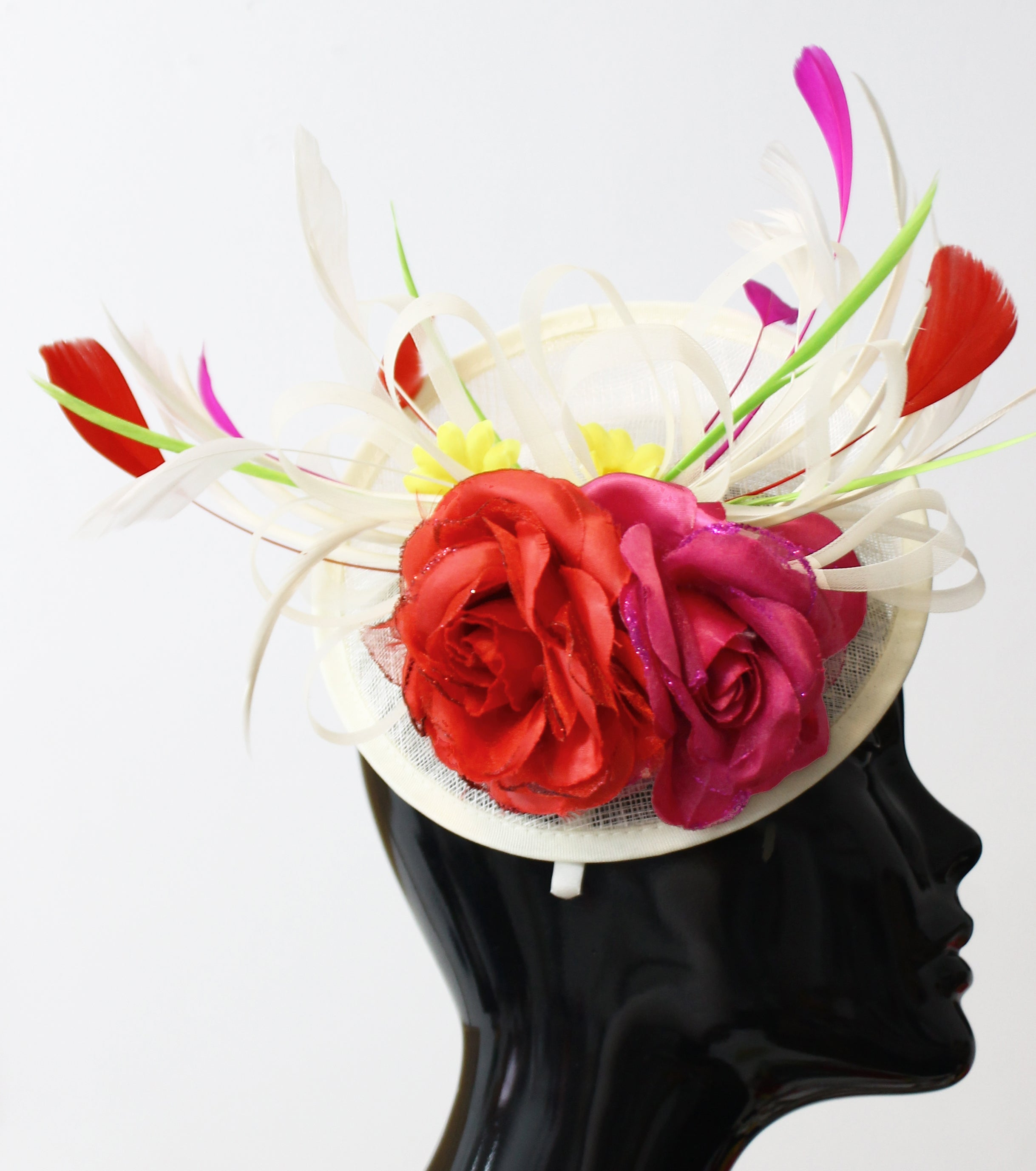 Cream Ivory Sinamay Base with Red and Fuchsia Rose Yellow Daisy and Green Feathers