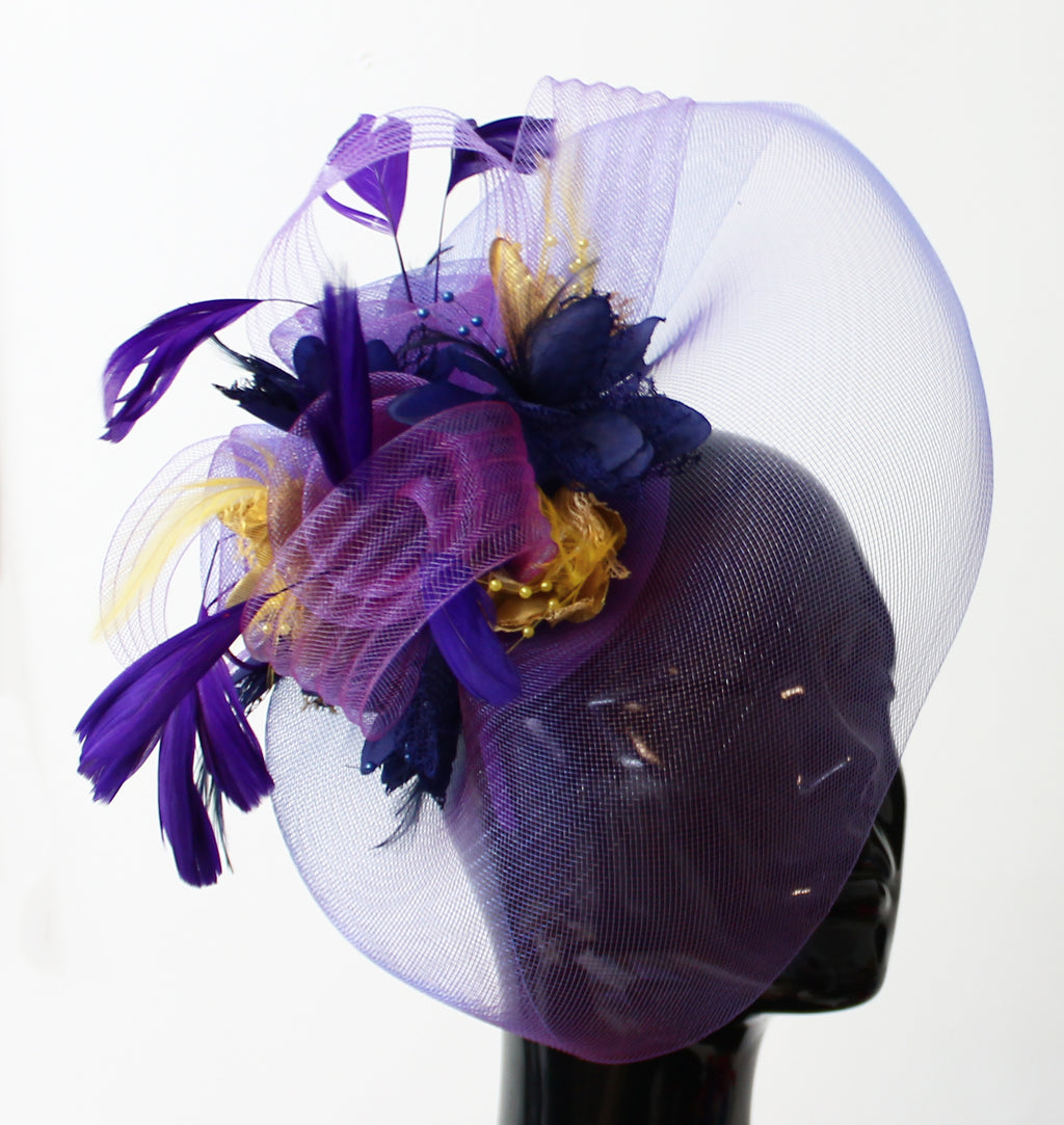Big Purple Veil Fascinator Hatinator Hat with Navy and Metallic Gold