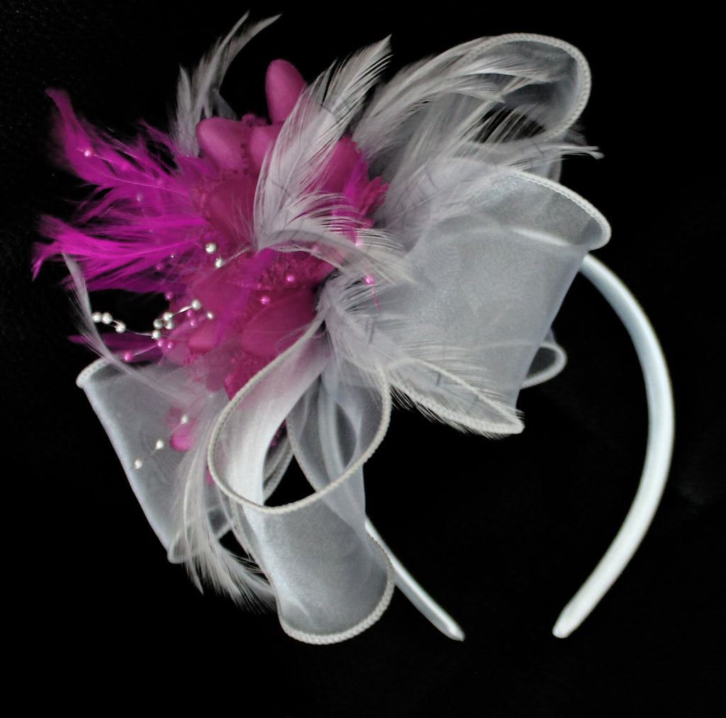 Silver and Fuchsia Pink fascinator on thick headband