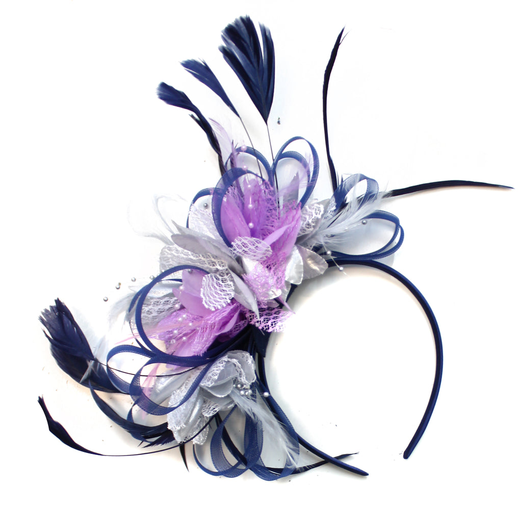 Caprilite Hoopmix - Three Colour Mixed Fascinator on Headband - Navy Silver Lilac
