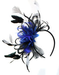 Caprilite Black Hoop & Royal Blue with silver Fascinator on Headband