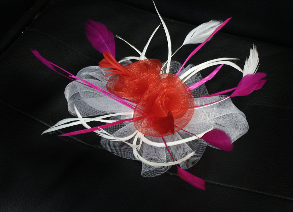 White Red and Fuchsia Butterfly fascinator