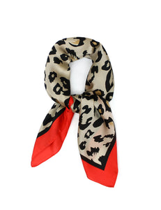 Leopard Print with Red Border Thin Silky Scarf for Summer and Spring