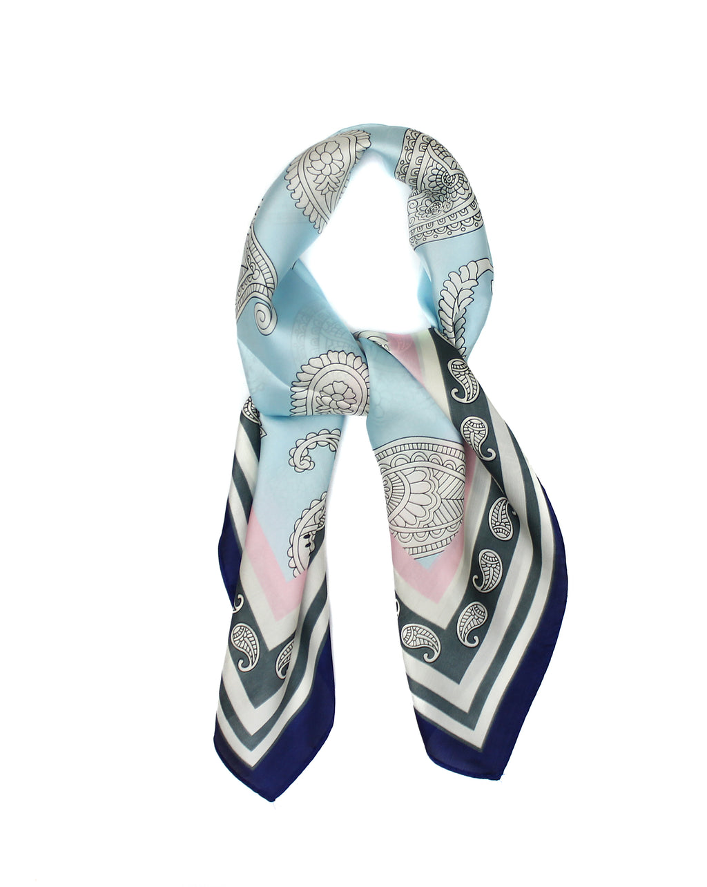 Baby Blue Paisley Scarf Thin Silky Womens Summer Spring
