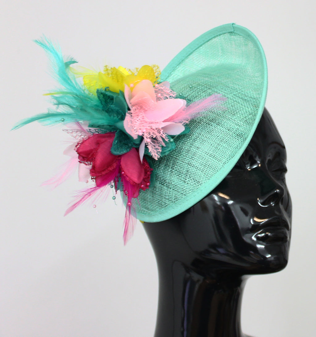 Light Turquoise Pinks and Yellow Sinamay Fascinator - Medium