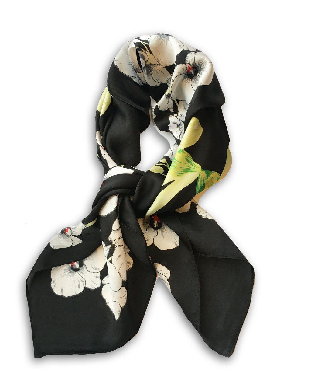 70cm x 70cm Square Scarf Black Lime Orchid Flower Scarf Thin Silky Womens Summer Spring