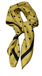 Mustard Yellow and Navy Polka Dot Thin Silky Scarf for Summer and Spring Womens