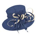 Navy and Cream Ivory Large Queen Brim Hat Occasion Hatinator Fascinator Weddings Formal