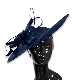 Navy Dark Blue 41cm Large SInamay Hatinator Disc Saucer Brim Hat Fascinator on Headband
