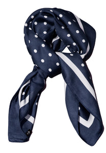 Navy and White Polka Dost Thin Silky Scarf - Summer Spring