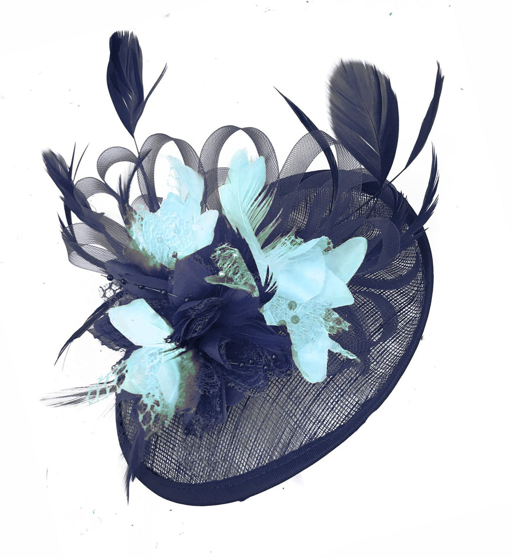 Caprilite Sinamay Navy Blue and Light Turquoise Disc Saucer Fascinator Hat for Women Weddings CLIP