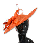 Orange 41cm Large SInamay Hatinator Disc Saucer Brim Hat Fascinator on Headband