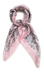 70cm x 70cm Square Silk Scarf Baby Pink Paisley Pattern Thin Faux