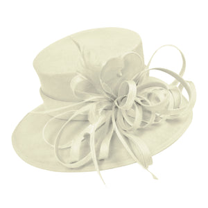 Cream Ivory Large Brim Hat Occasion Hatinator Fascinator Weddings Formal