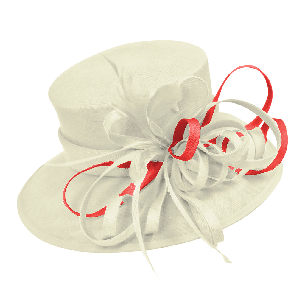 Cream Ivory and Red Scarlet Pink Large Brim Hat Occasion Hatinator Fascinator Weddings Formal