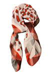 Red and White Thin Scarf Summer and Spring - Hearts Tartan Border