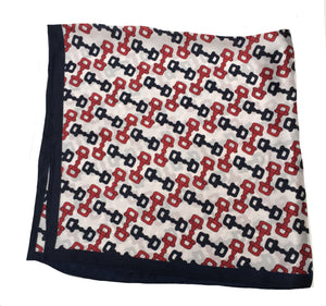 70cm x 70cm Square Scarf Navy Cream Red monogram Scarf Thin Silky Womens Summer Spring