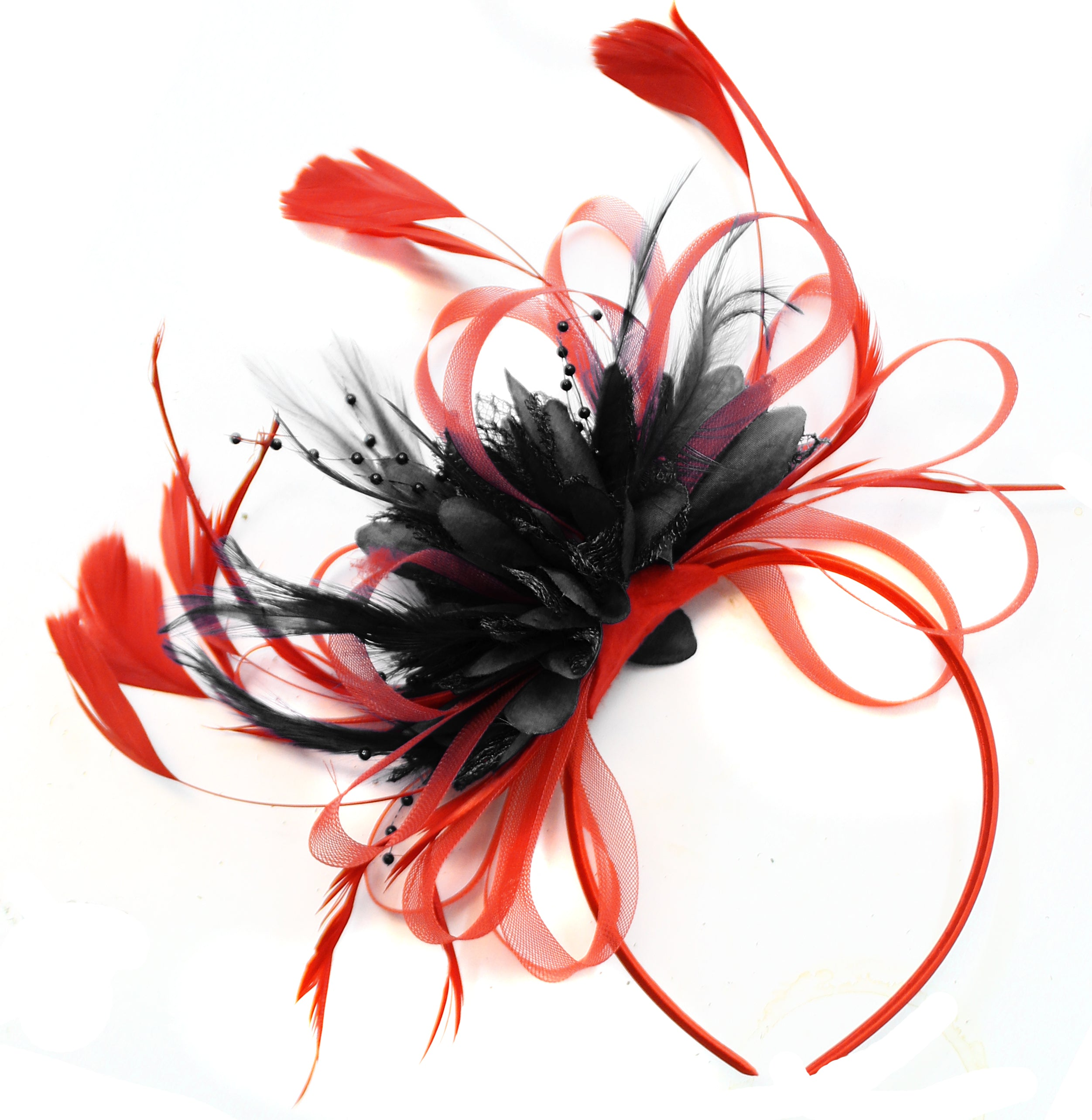 Caprilite Scarlet Red & Black Feathers Fascinator On Headband