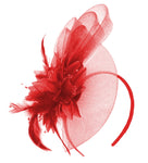 Scarlet Red Fascinator for Weddings on headband Ascot Races and Derby UK Caprilite