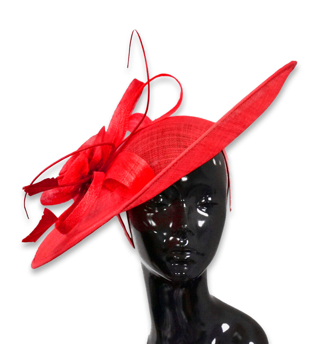 Red 41cm Large SInamay Hatinator Disc Saucer Brim Hat Fascinator on Headband