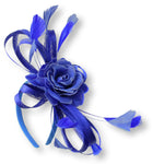 Caprilite Sinamay Rose Royal Blue and Cornflower Fascinator on Headband Alice Band UK Wedding Ascot Races Loop