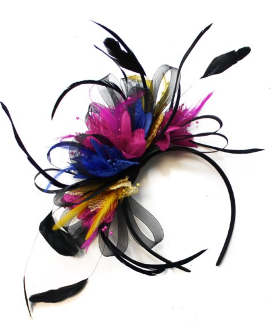 Caprilite Black Hoop, Gold and Fuchsia Blue Feathers Fascinator On Headband Hoopmix