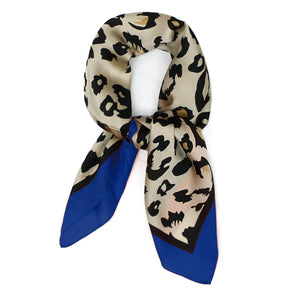 Leopard Animal Print with Blue Border Thin Silky Scarf for Summer and Spring
