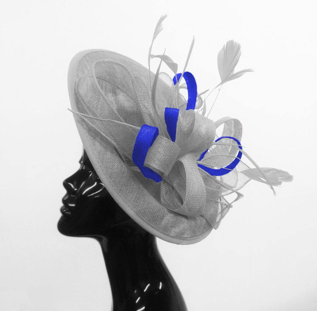 Caprilite Big Saucer Sinamay Silver Grey & Royal Blue Mixed Colour Fascinator On Headband
