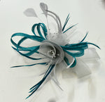Silver and Teal Butterfly Fascinator with Sinamay and Crinoline