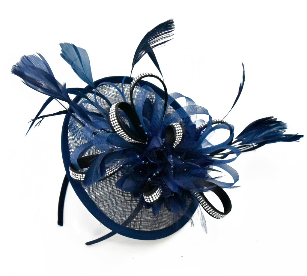 Caprilite Disc Saucer Sinamay Navy with Black Diamante Crystal Strips Fascinator on Headband Alice Band Wedding Ascot Races