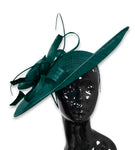 Teal 41cm Large SInamay Hatinator Disc Saucer Brim Hat Fascinator on Headband