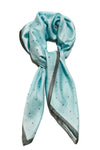 Big Square Ladies Womans Faux Silk Head Neck Thin Scarf Bag Charm - 70cm x 70cm[Turquoise Blue Stars]