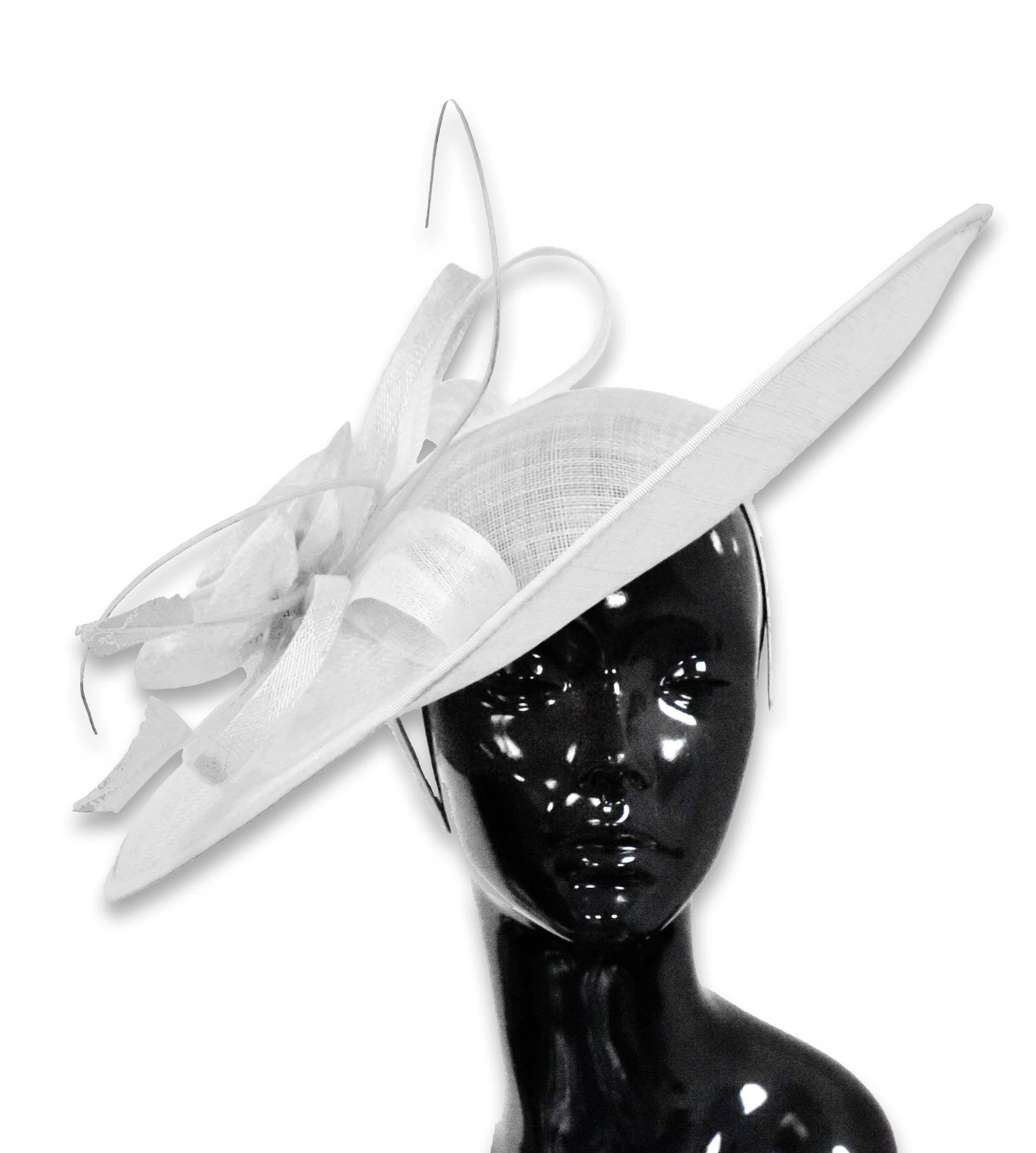 41cm Large SInamay Hatinator Disc Saucer Brim Hat Fascinator on Headband