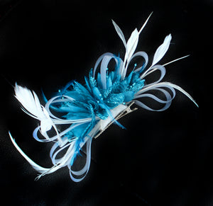 White and Aqua Hoopmix Fascinator on Clip