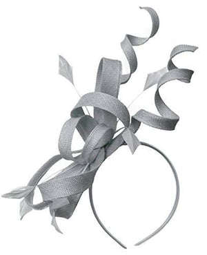 Caprilite Silver Grey Swirl Loop Sinamay Headband Fascinator for Women Wedding Ascot Races