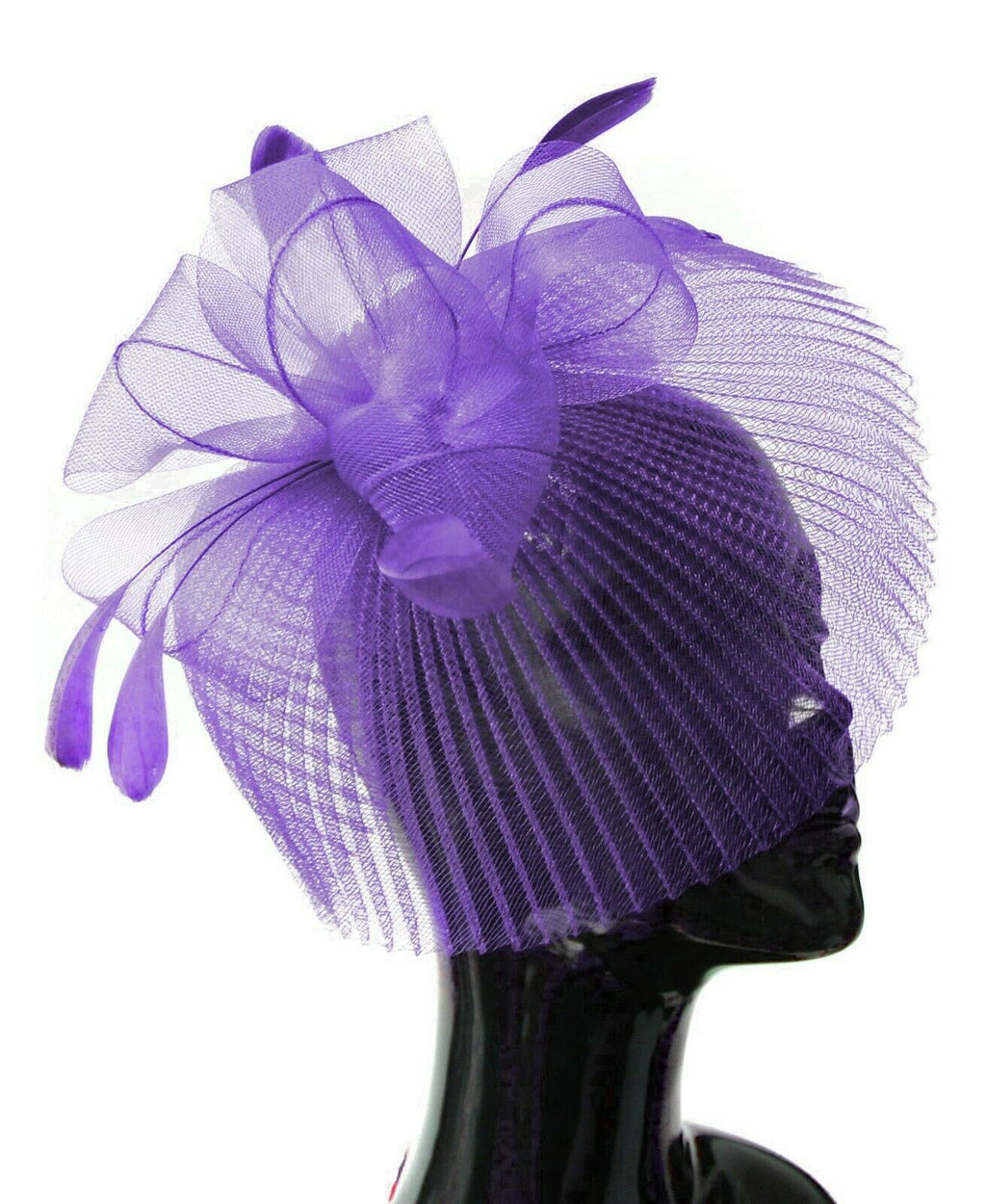 Purple Veil Fan Feathers Fascinator on Headband Wedding Races Net Hat Big