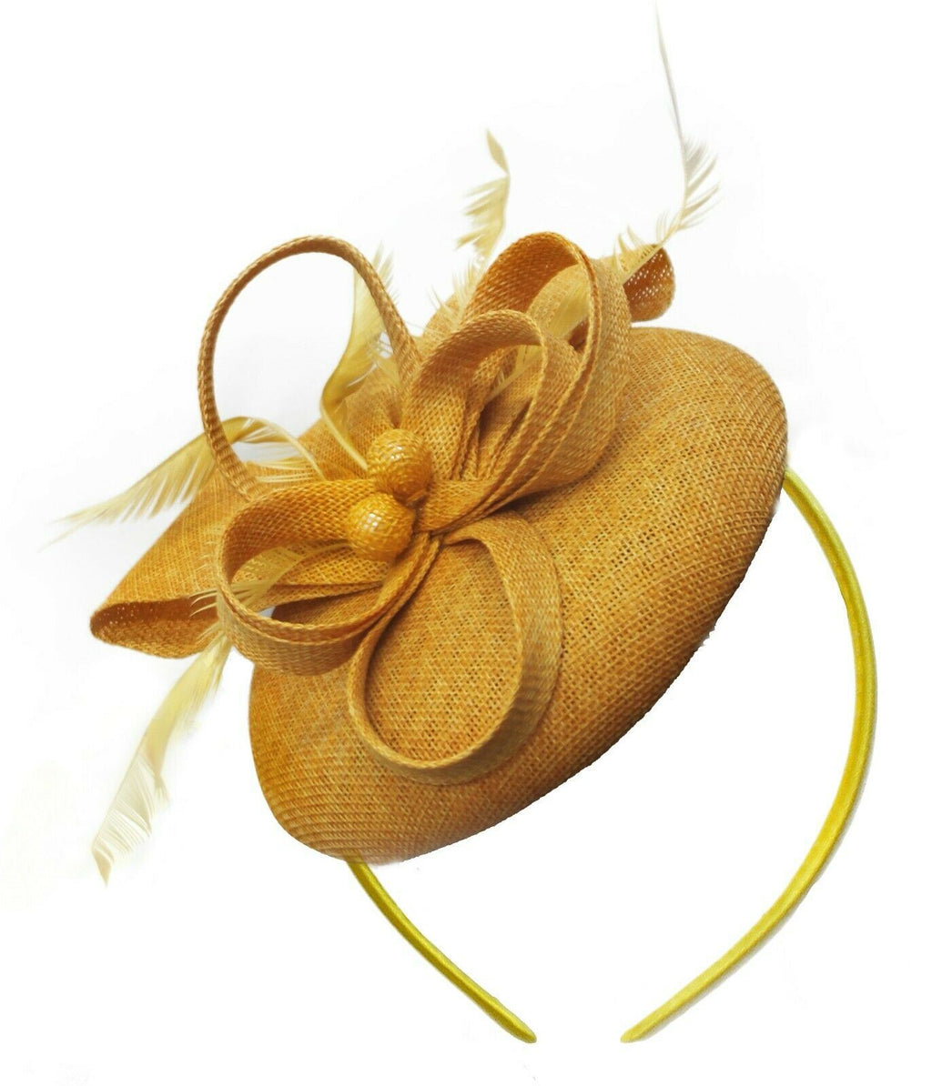 Gold Yellow Mustard Round Pillbox Bow Sinamay Headband Fascinator Weddings Ascot Hatinator Races