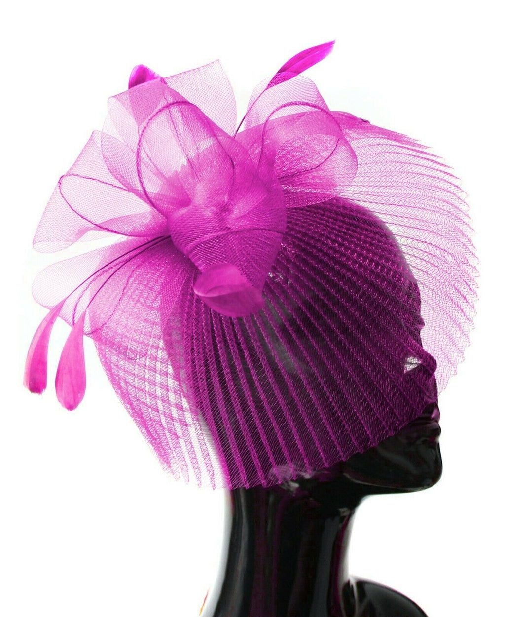 Fuchsia Hot Pink Veil Fan Feathers Fascinator on Headband Wedding Races Net Hat Big