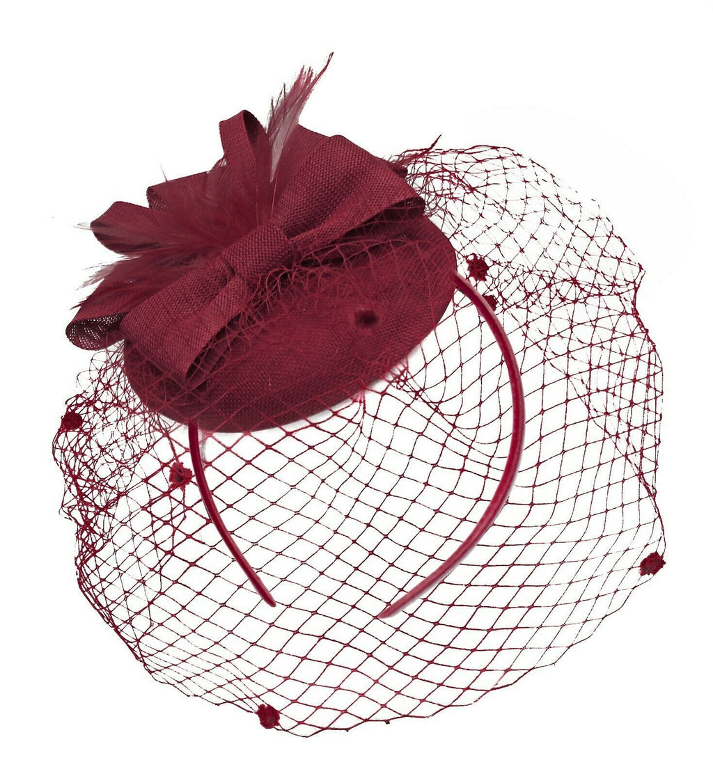 Burgundy Birdcage Veil Pillbox Bow Sinamay Headband Fascinator Weddings Ascot Hatinator Races